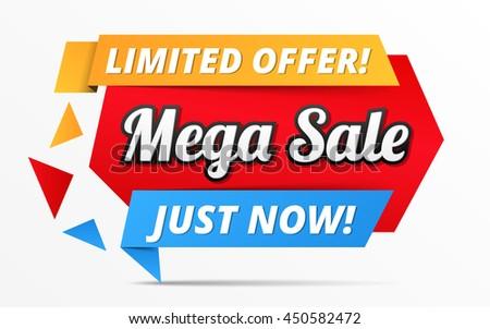 Limited offer mega sale banner, advertisement promotion design, vector eps10 illustration - stock vector