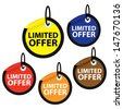 Limited offer sale colorful stickers set.  - stock vector