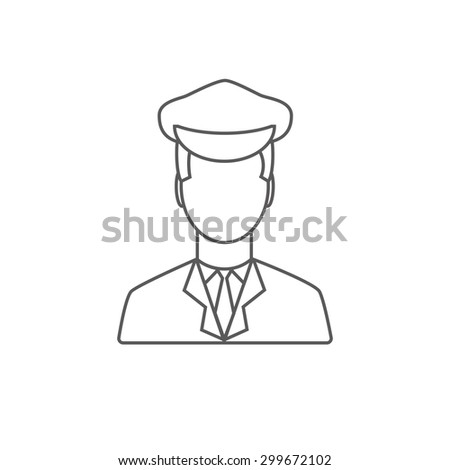 Limo driver linear icon.  Limousine driver icon. Flat style. Vector illustration - stock vector