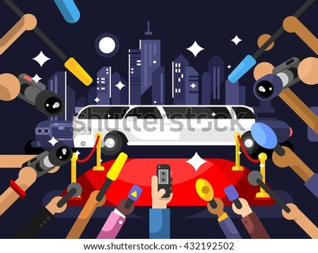 Limousine and red carpet - stock vector
