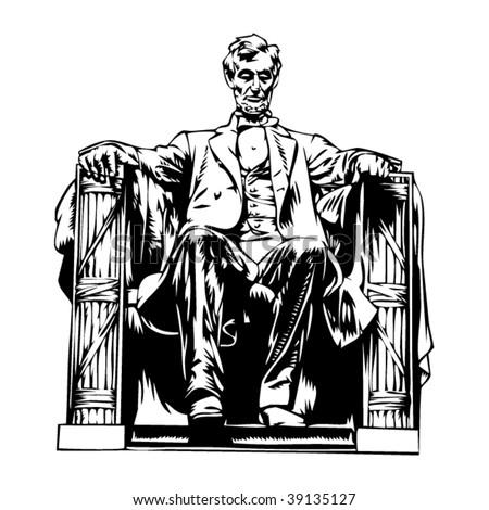 Lincoln memorial statue illustration - stock vector