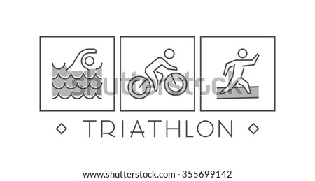 Line and flat triathlon logo. Swimming, cycling and running icon. Silhouettes of figures triathlete. Vector sport symbol, label and badge