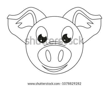 Line Art Black White Pig Face Stock Photo (Photo, Vector ...