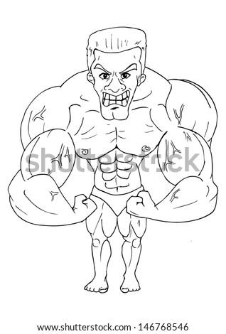 Line-art caricature of a bodybuilder  - stock vector