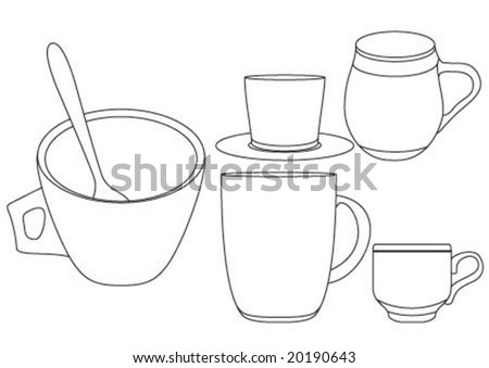 line art coffee cups in shape - stock vector