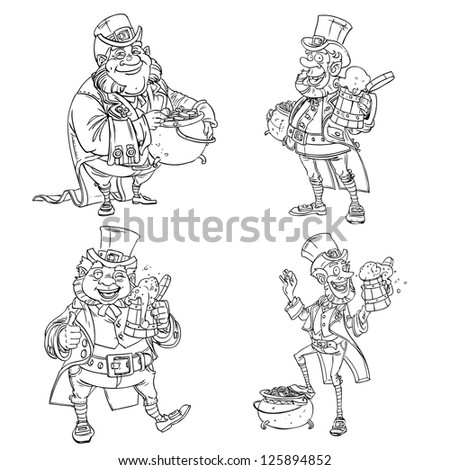 Line art coloring Leprechaun with beer and gold - stock vector