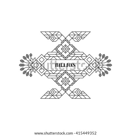 Line Art Design. Geometric Style. Wedding Invitation. Lineart Vector Illustration. - stock vector