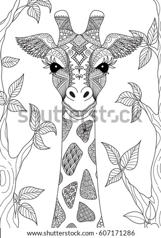 Line Art Design Of Abstract Giraffe For Adult Coloring Book Page And Other Element