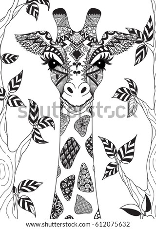 Zentangle Giraffe Isolated On Withe