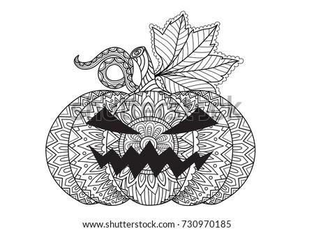 Line Art Design Halloween Pumpkin Card Stock Vector 730970185 ...
