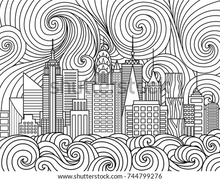 Line Art Design Of New York City Skyline For Element And Adult Coloring Book Page