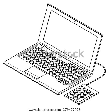Line-art detailed isometric drawing of a mainstream business laptop computer. With an external USB numeric keypad.