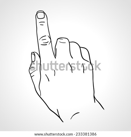 Line art drawing hand with forefinger pressing an imaginable button, sketch hand, the Index Finger, pointing finger. Outline vector - stock vector