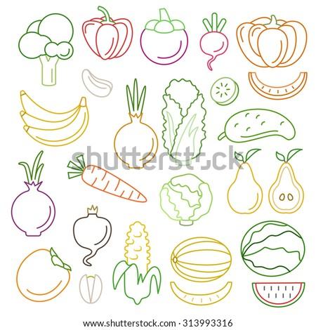 Line art flat graphical style high quality fruit vegetable icon set. Pumpkin pepper corn carrots melon peas. World of lineart collection. - stock vector