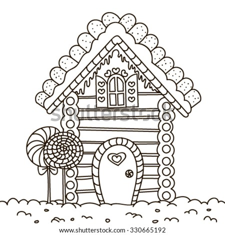 Line Art Illustration Of A Gingerbread House Coloring Page