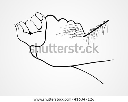 Line art illustration of a hairy man's hand holding a woman hand, rape concept - stock vector