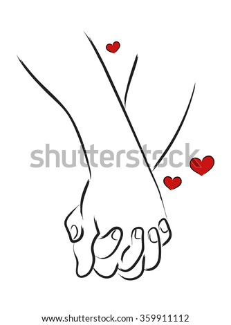 Line art illustration of a man and woman holding hands - stock vector