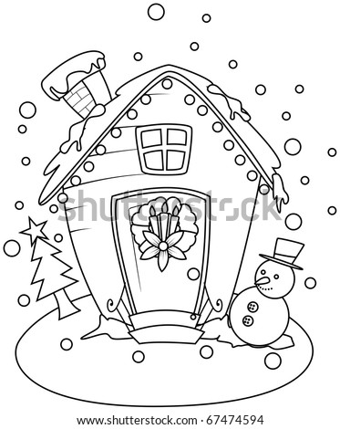 Line Art Illustration of a Small House with a Christmas Theme (Coloring Page) - stock vector