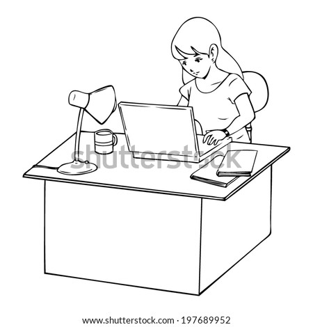 Line-art illustration of a woman working on laptop computer