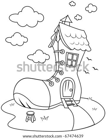 Line Art Illustration Of House SHaped Like A Giant Shoe Coloring Page