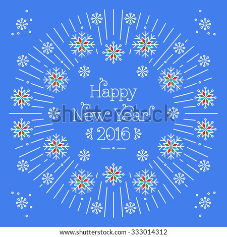 Line art lettering: Happy New Year on a blue background. Elegant frame with snowflakes in trendy mono line style, vector illustration. Christmas flyer made in line style vector.