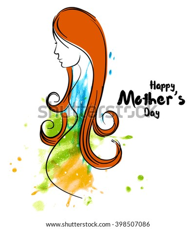 line art of mother silhouette with her baby. Happy Mothers Day card. Vector illustration of beautiful woman and child