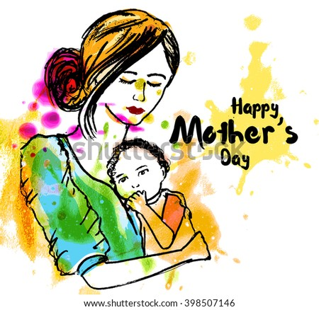 line art of mother silhouette with her baby. Happy Mothers Day card. Vector illustration of beautiful woman and child - stock vector