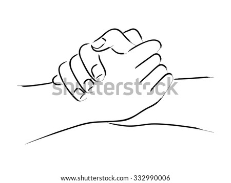 Line art of two hands holding each other strongly - stock vector