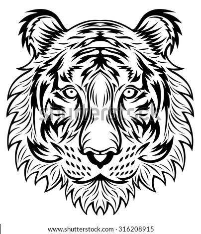Line Art Tiger Head
