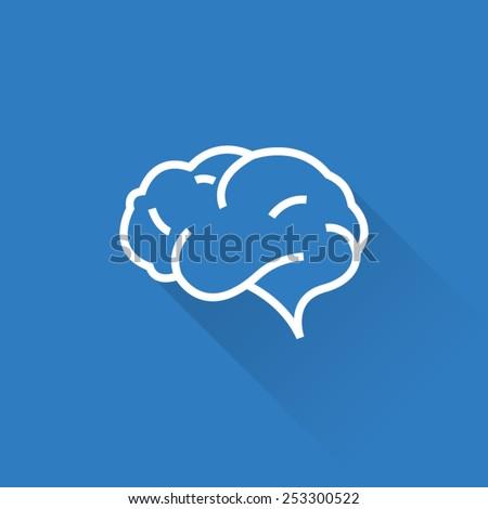 Line Brain icon - stock vector