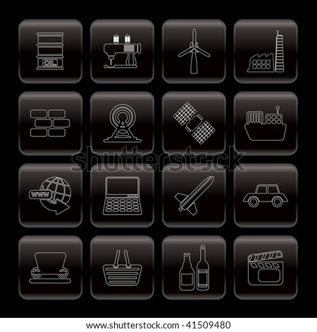 Line Business and industry icons - Vector Icon Set - stock vector