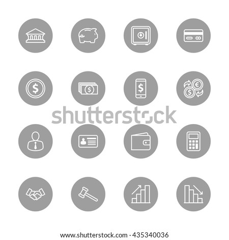 line business commercial and finance icon set on gray circle for web design, user interface (UI), infographic and mobile application (apps)