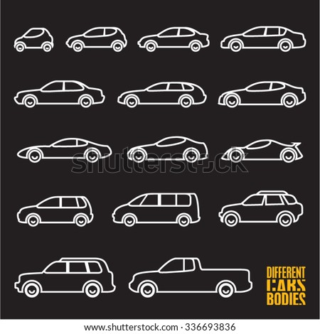 line car icons on black background, different types of cars - stock vector