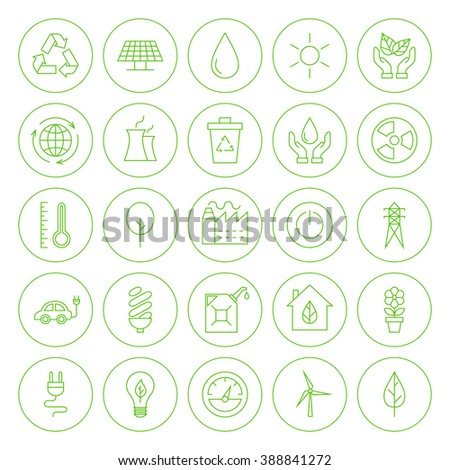 Line Circle Go Green Environment Icons. Vector Set of Modern Eco Friendly Thin Line Icons of Ecology Circle Shaped Isolated over White Background.