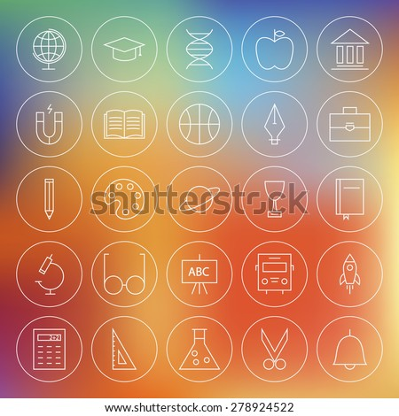 Line Circle School Education and Science Icons Set. Vector Set of Education and Knowledge Modern Thin Line Icons for Web and Mobile over Blurred Background - stock vector