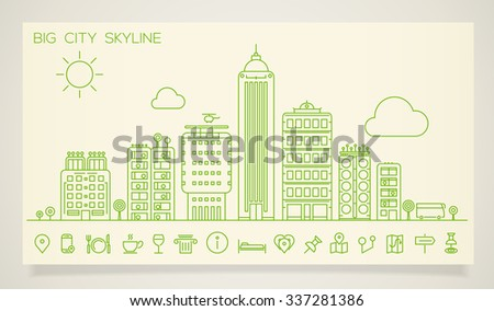 Line cityscape skyline with various parts of a city: small towns or suburbs and downtown buildings - stock vector