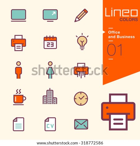 Line Colors - Office and Business icons - stock vector