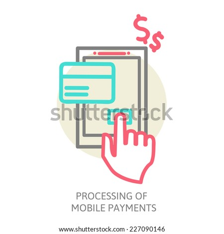 line design illustration in  modern stylish processing of mobile payments concept of hand touch screen. processing of mobile payments. vector eps 10 - stock vector