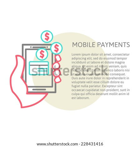line design illustration in  modern stylish processing of mobile payments concept of hand touch screen and place for your text. processing of mobile payments. vector eps 10 - stock vector