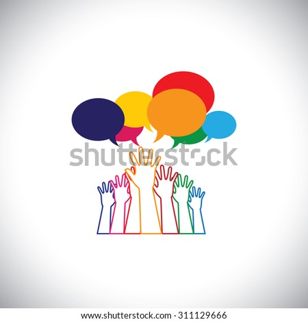 line design vector - abstract hands of people requesting help, assistance. This vector graphic also represents person seeking love, care, aid, soccour, support, etc - stock vector