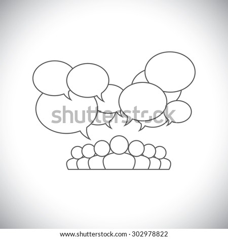 line design vector - social media communication with people. The vector also represents people conference, social media interaction & engagement, children, employee discussions, leadership - stock vector