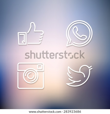 Line designed vector icons of like, handset, camera and bird on blur background for social media, websites, interfaces - stock vector