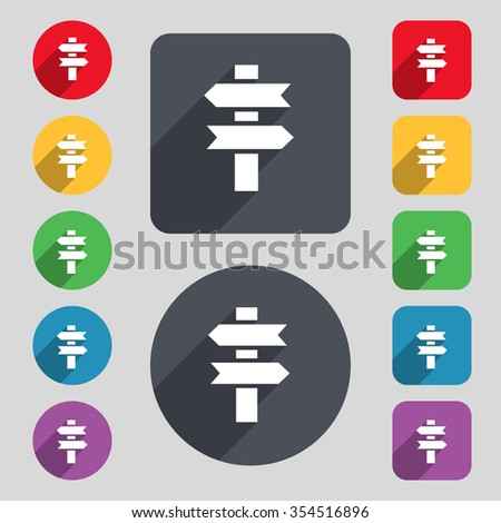 line directs icon sign. A set of 12 colored buttons and a long shadow. Flat design. Vector illustration - stock vector