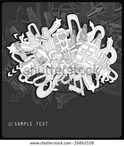 line drawing chaotic city - vector -black and white background - stock vector
