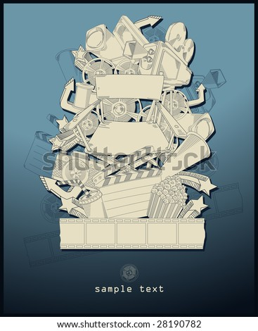 line drawing movie theme - vector - blue - stock vector