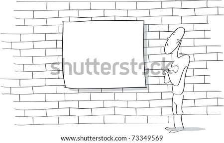 Line drawing of a cartoon character looking at a blank sign on a brick wall. - stock vector