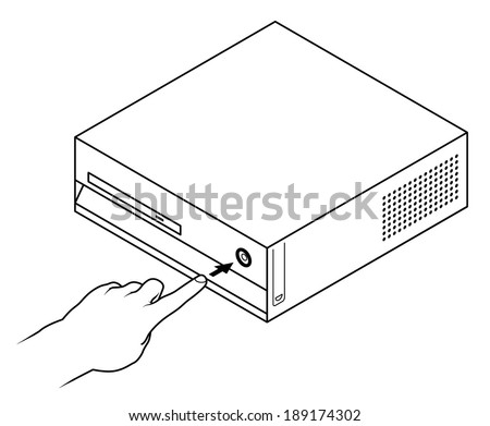 Line drawing of a human male hand about to turn on/off a computer.