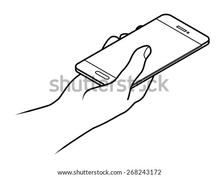 Line drawing of a human male hand holding a large smartphone / phablet.  - stock vector