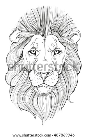 line drawing lions head his paws stock vector 487860226 - shutterstock
