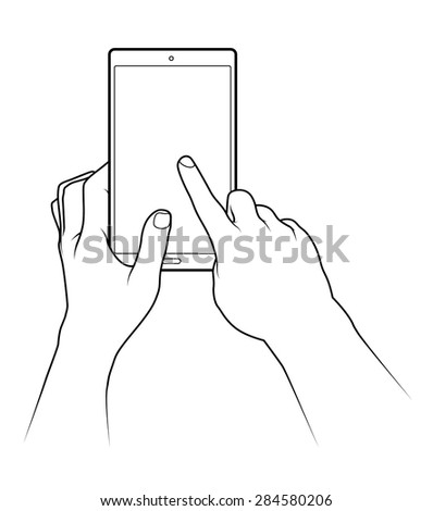Line drawing of a pair of human male hands holding a large smartphone / tablet or small tablet. - stock vector